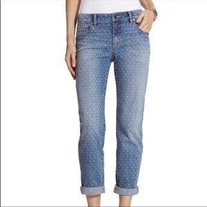 Chico's blue skimmer polka dot jeans size 8